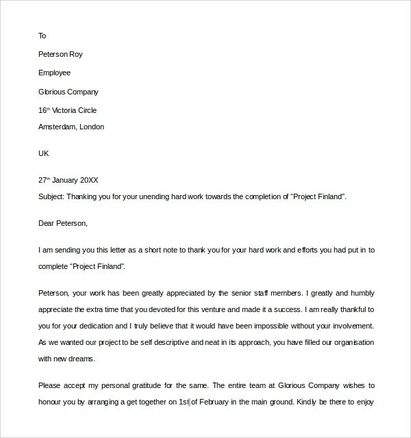 Sample Thank You Letter To Employer 18 Download Free