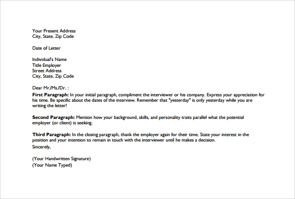 Thank You Letter To Employer 9 Download Free Documents
