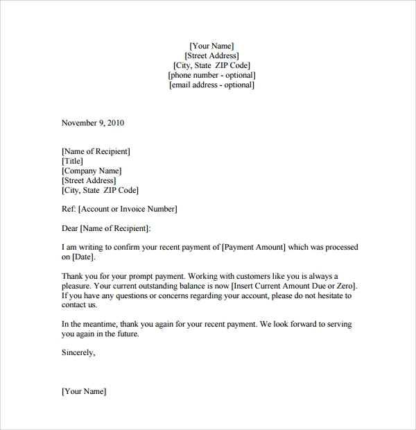 Sample Customer Thank You Letter 9 Download Free