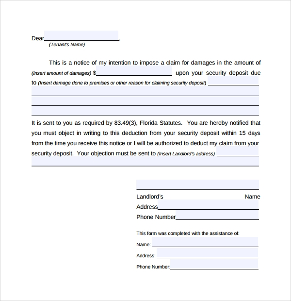 Sample Rental Deposit Form   Free Documents In Pdf Word