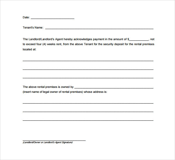basic rental deposit form