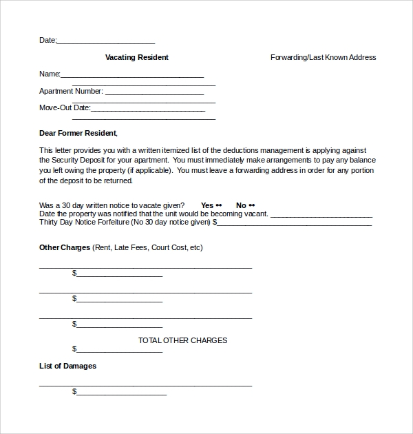 rental deposit disposition form