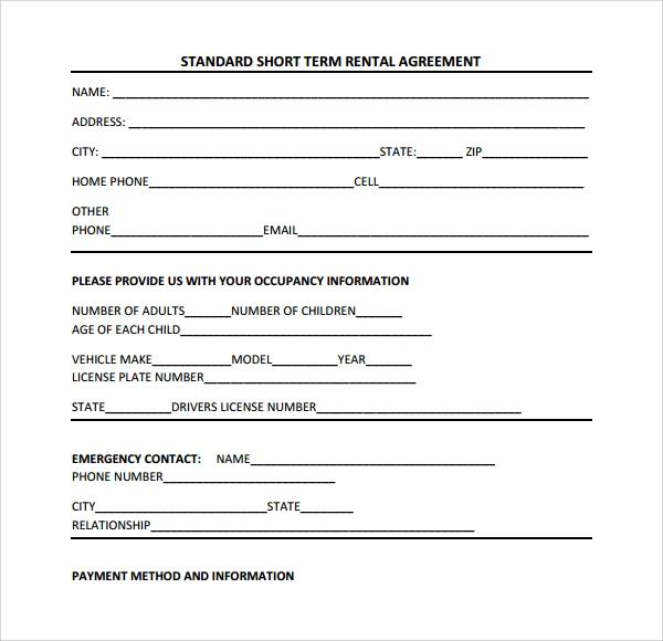 acting contract template - short term rental contract form 9 download free