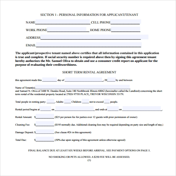 Short Term Rental Contract Form   Download Free Documents In Pdf