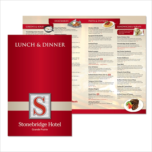 sample lunch menu templates