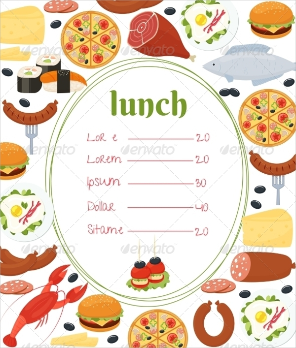 Weekly Lunch Menu Template