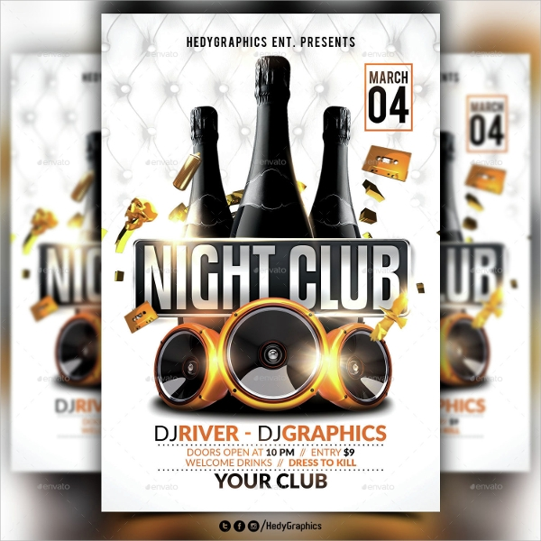 photoshop psd night club flyer