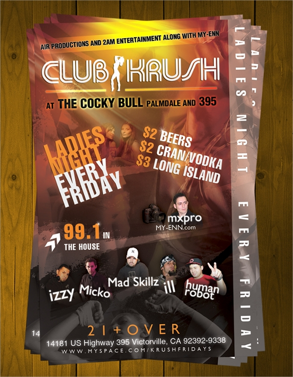 printable night club flyer