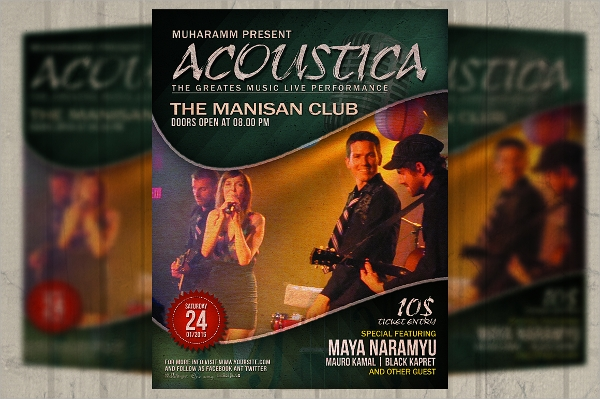 acoustic music event flyer template download