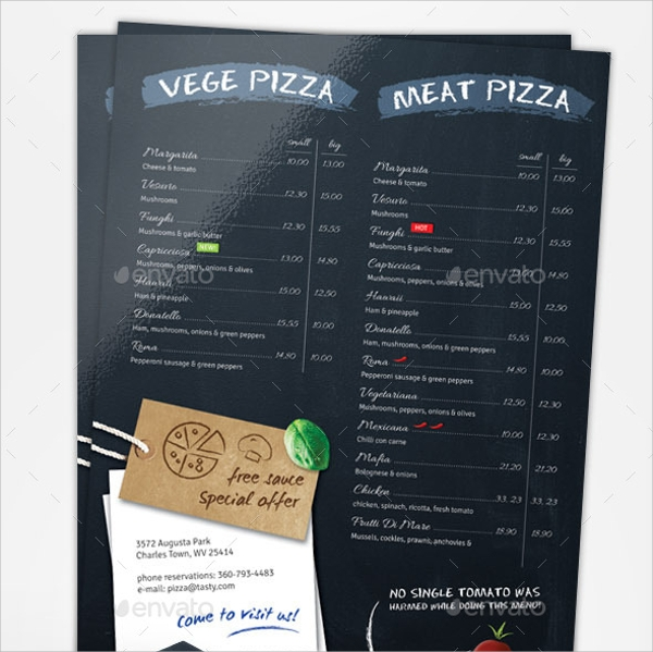 Sample Chalkboard Menu Template   Download Documents In Pdf