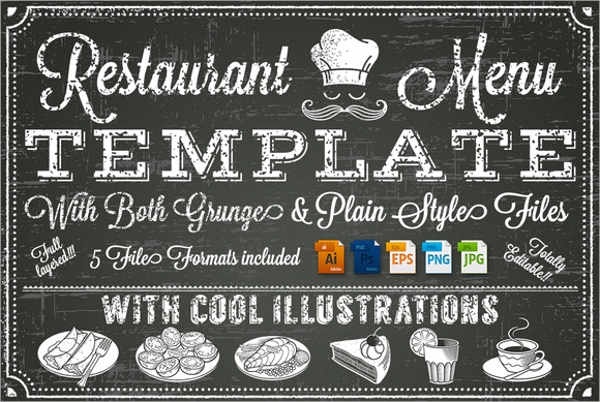 Sample Chalkboard Menu Template   Download Documents In Pdf Psd