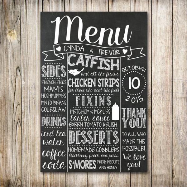 creative chalboard menu