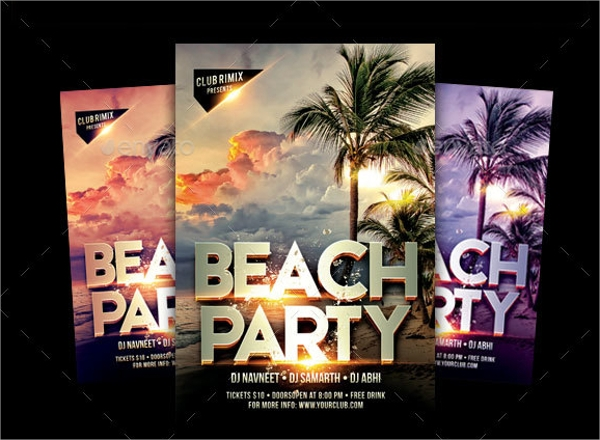 beach party flyer photoshop psd format download
