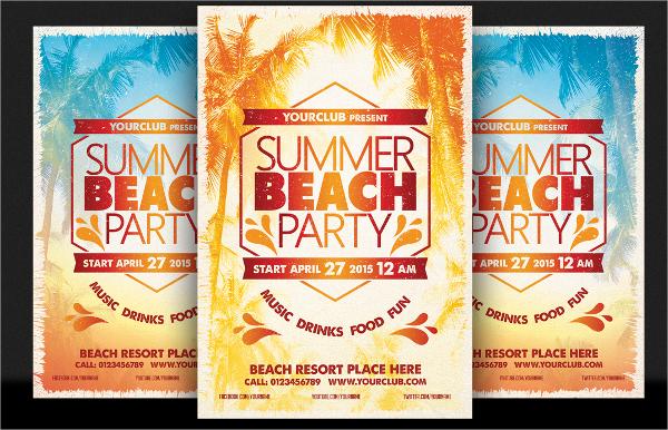 summer beach party flyer vector eps format download