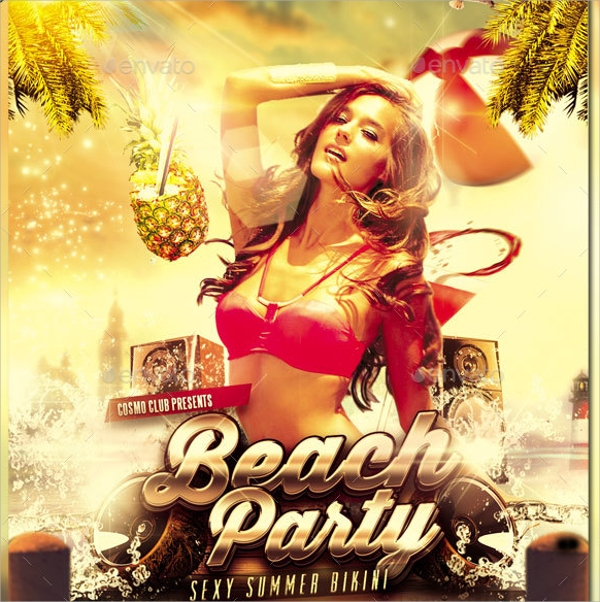 Beach Party Flyer Template 21 Download in Vector EPS PSD – Beach Party Flyer Template