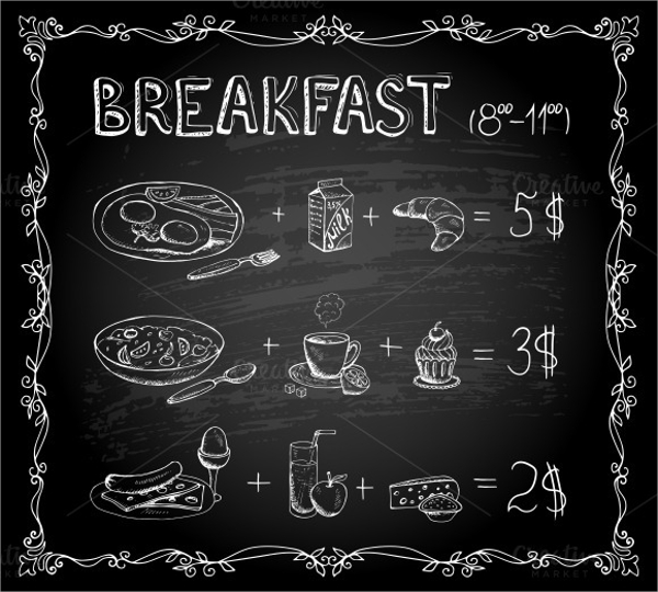 attractive breakfast menu