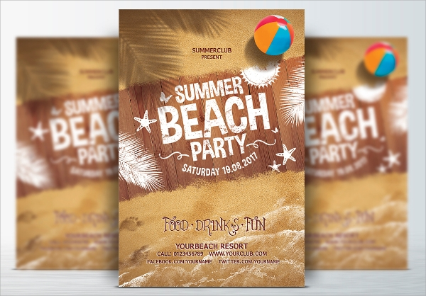 simple beach party flyer templates download