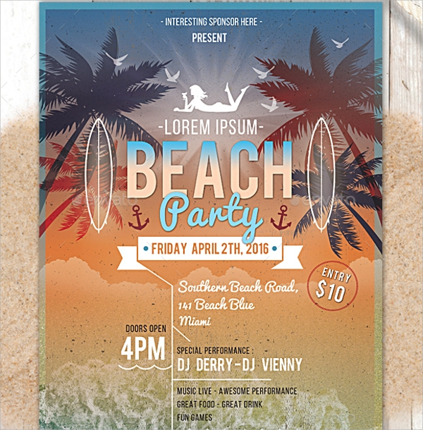 Beach Party Flyer Template   Download In Vector Eps  Psd