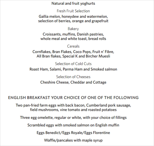 spectacular breakfast menu