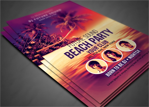 dazzling beach party flyer templates download