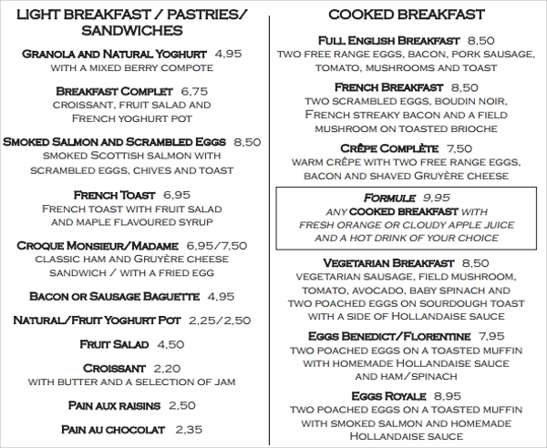 fantastic breakfast menu
