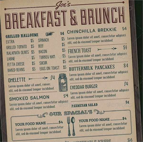 awesome breakfast menu