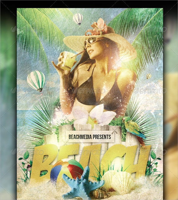 vintage beach party flyer template download