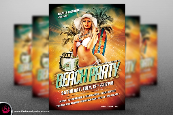 beach party flyer template psd format download