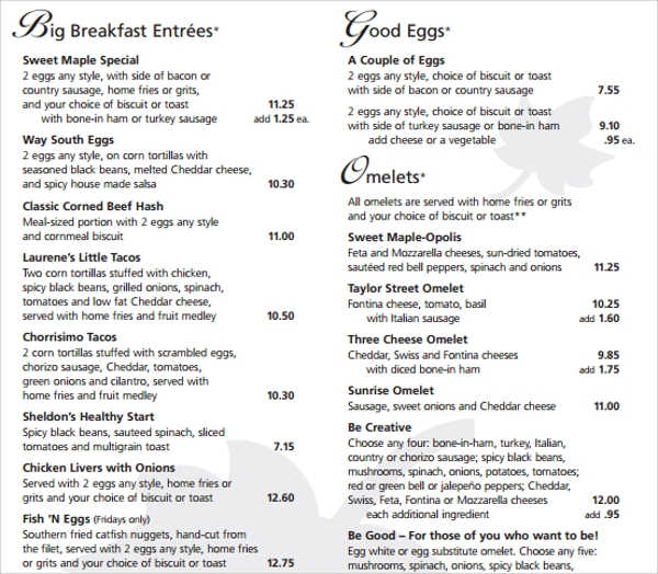 creative breakfast menu