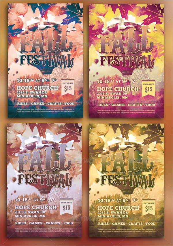 collection of fall flyer template