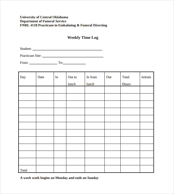 Sample Weekly Log Template   Free Documents In Pdf