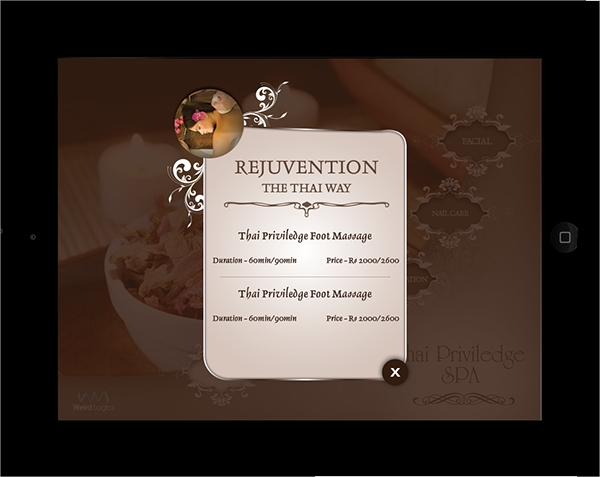 Lovely Spa Digital Menu