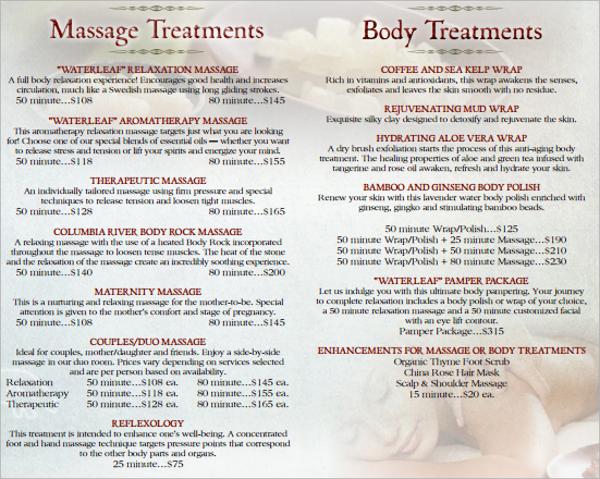 sample spa menu template
