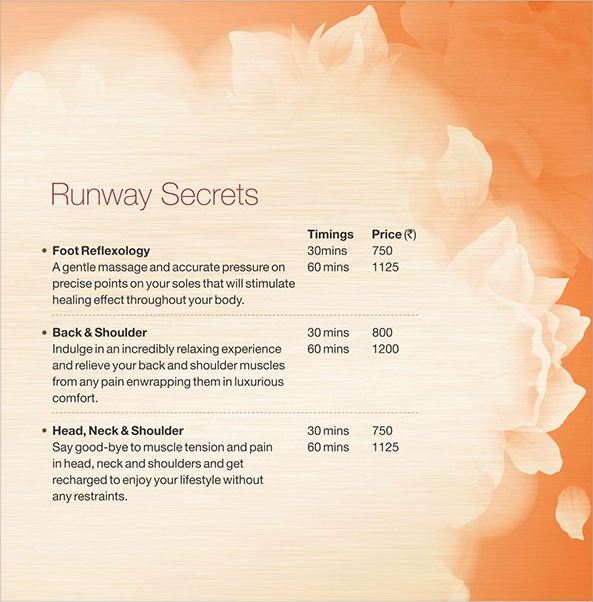 Captivating Sample Spa Menu