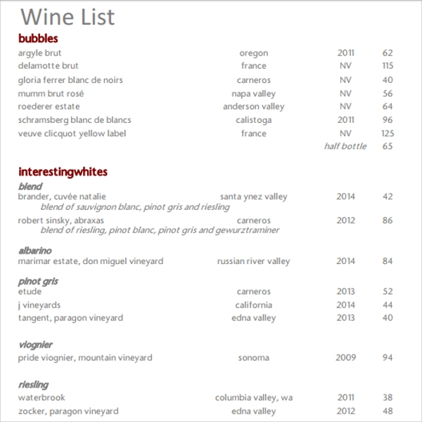 Wine Menu Template Wine List Template Wine Menu Template Procedure