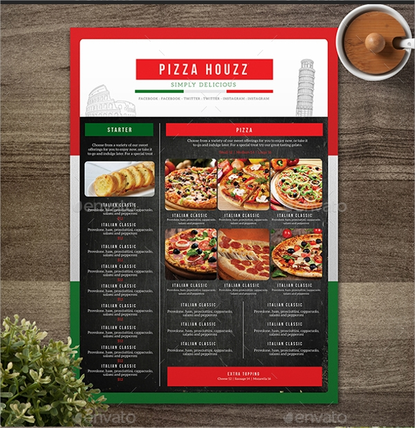attractive pizza menu template