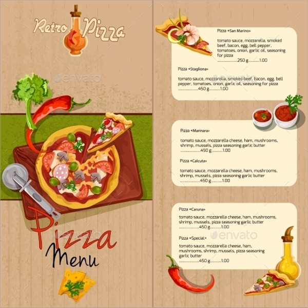 wonderful retro pizza menu template