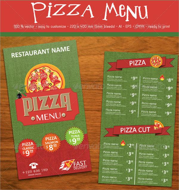 elegant pizza menu template