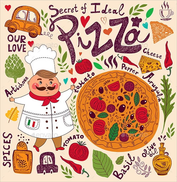 dazzling pizza menu template