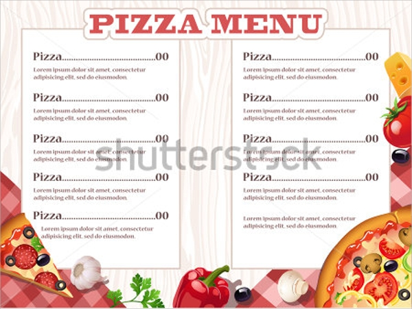 marvelous pizza menu template