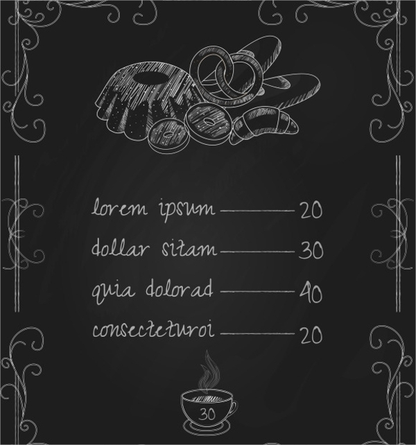 sample bakery menu template