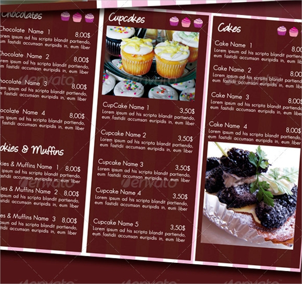 Sample Bakery Menu Template   Download Documents In Pdf Psd