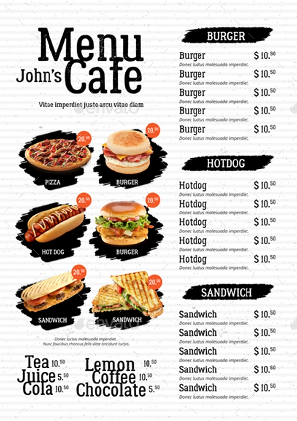 High Quality Creative Cafe Menu Template