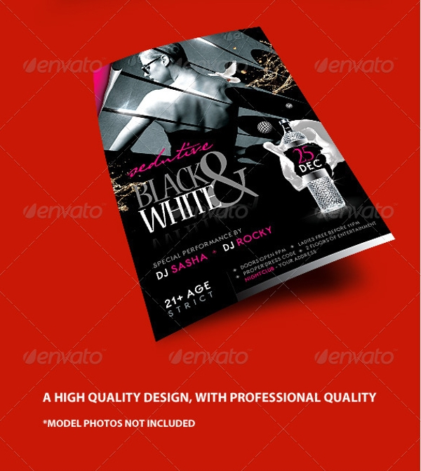 seductive black and white flyer template