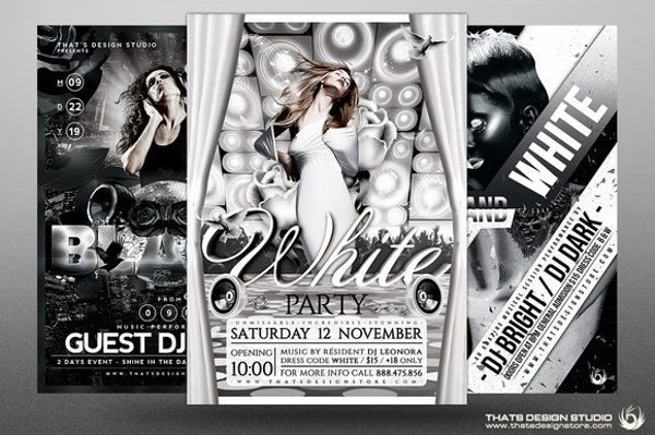 black and white party flyer bundle template