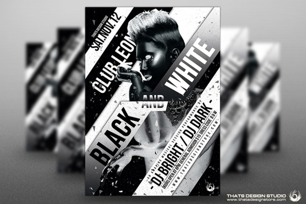 psd black and white flyer template