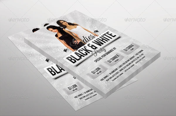 ladies party black and white flyer