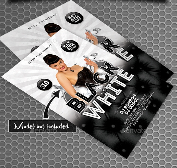 elegant black and white party flyer