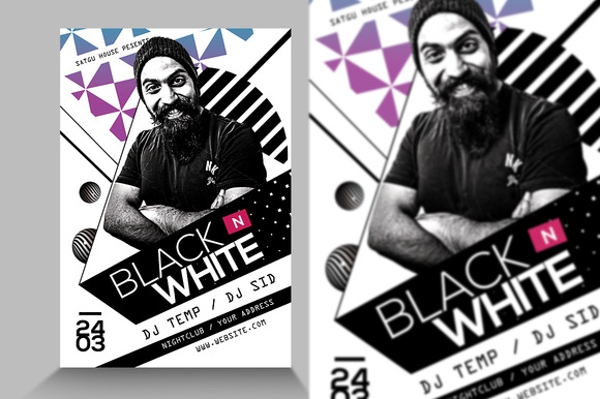 wondrous black and white party flyer