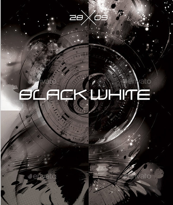awesome black and white party flyer